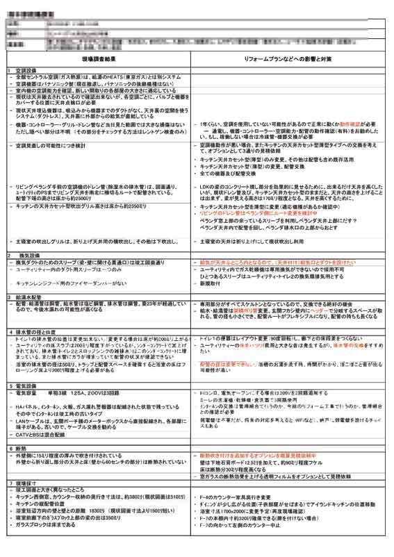 設備調査による変更点リスト