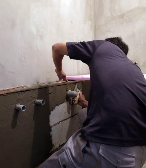 モルタル仕上げのライニング部分の下地塗り