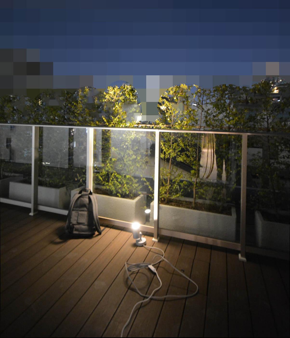 マンションバルコニー植栽照明実験