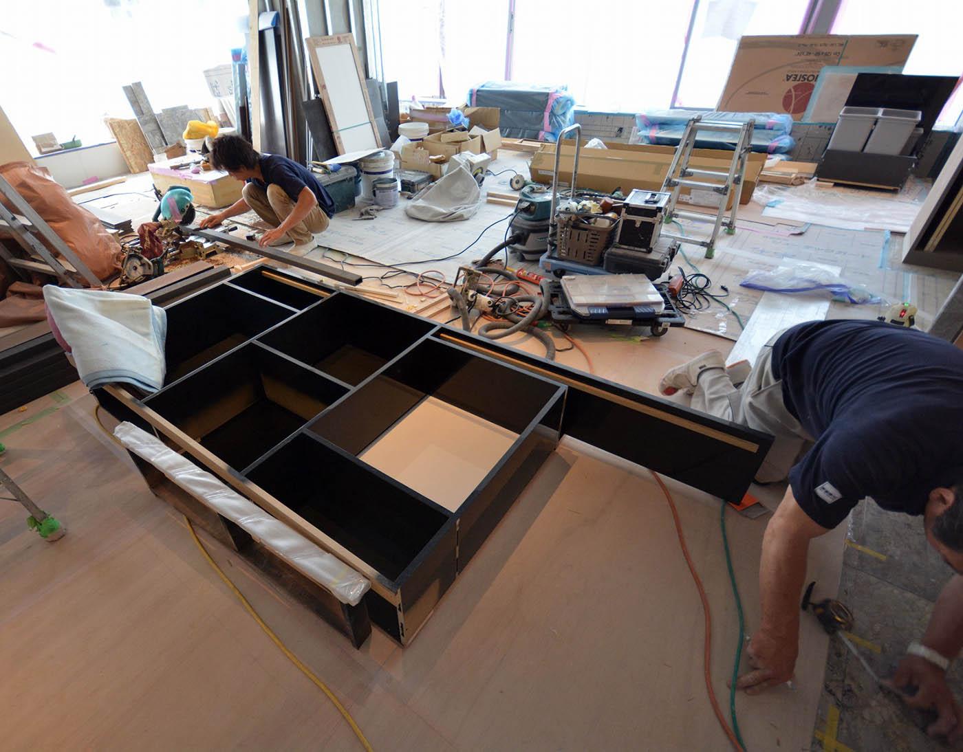 造作飾り棚の設置工事@港区高級マンションリノベーション