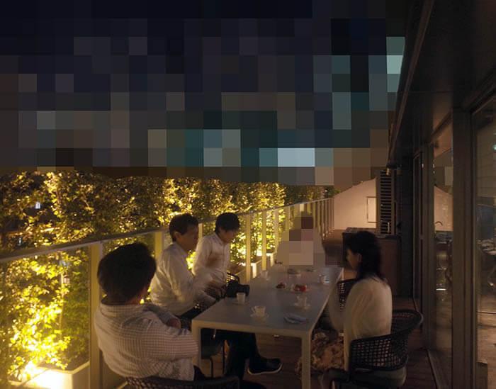 竣工祝い食事会後のテラスでのお茶風景