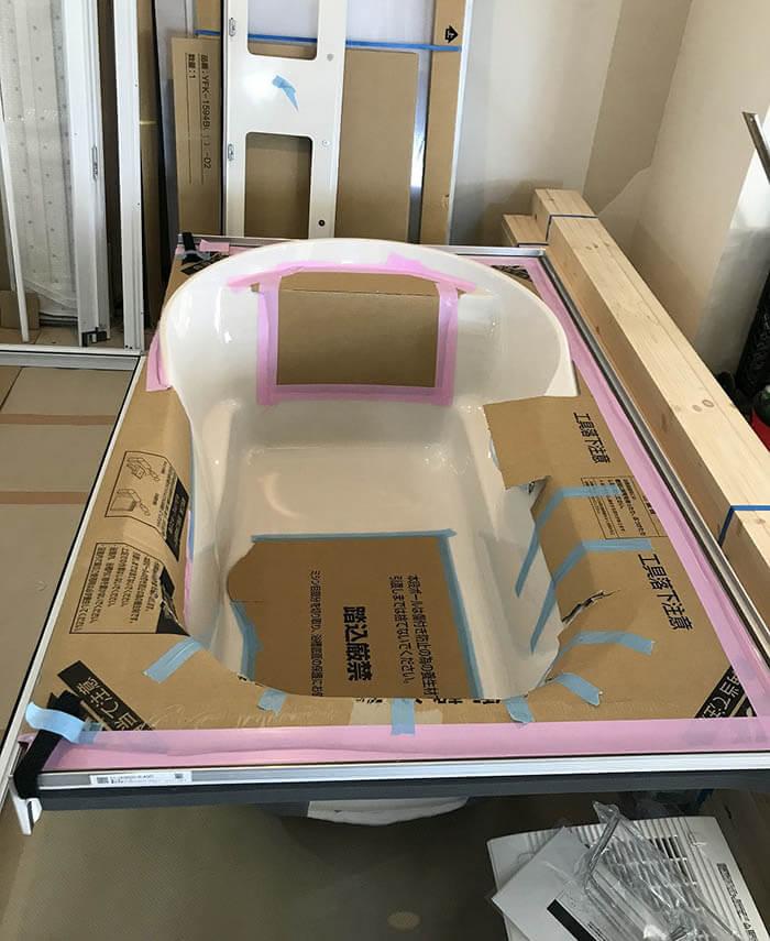 品川N邸リフォーム現場_ユニットバス用の浴槽