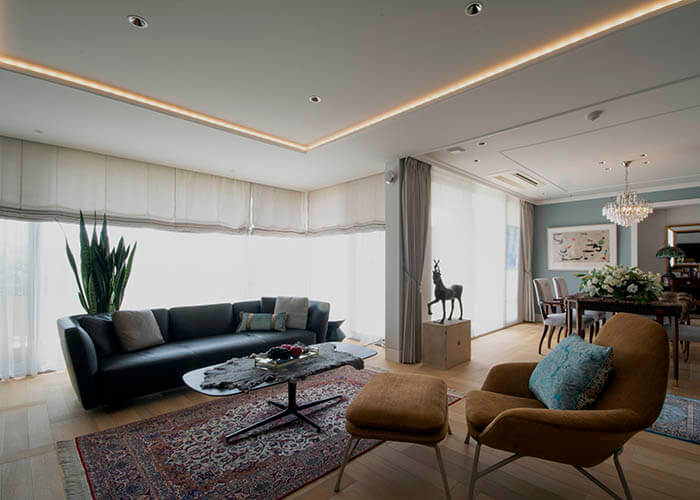 ミノッティのソファのマンションインテリア_シーモア